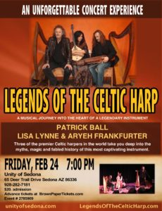 Legends of the Celtic Harp with Patrick Ball, Lisa Lynne & Aryeh Frankfurter @ Unity of Sedona | Pineville | Missouri | United States